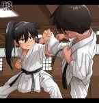 2boys blocking dojo dougi fighting_stance from_behind hair_between_eyes highres kaminosaki1 karate karate_gi kicking long_hair martial_arts multiple_boys original ponytail sweat uniform