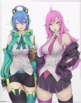 2girls absurdres ahoge alternate_costume alternate_hairstyle battle_academia_katarina blue_eyes blue_hair breasts candy coffee food highres jacket katarina_du_couteau large_breasts league_of_legends lipstick liya_nikorov lollipop long_hair makeup multiple_girls necktie pink_eyes pink_hair scar scar_across_eye simple_background sona_buvelle white_background