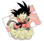 1boy arm_behind_back artist_name black_eyes black_footwear black_hair chewing clothes_writing clouds cloudy_sky commentary_request dougi dragon_ball dragon_ball_(classic) eating fenyon fingernails floating_hair flying flying_nimbus food food_on_face full_body happy holding holding_food holding_weapon legs_apart male_focus monkey_tail nyoibo puffy_cheeks sky smile son_gokuu spiky_hair standing tail weapon wristband