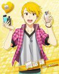 blonde_hair blue_eyes character_name idolmaster idolmaster_side-m maita_rui shirt short_hair smile