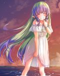 1girl ^_^ ames aono_(f_i_s) bangs bare_shoulders blush bracelet braid closed_eyes clouds cloudy_sky collarbone dress evening eyebrows_visible_through_hair facing_viewer floating_hair green_hair grin highres horizon jewelry long_hair multicolored_hair ocean off-shoulder_dress off_shoulder outdoors pointy_ears princess_connect! princess_connect!_re:dive purple_hair see-through side_braids sidelocks sky smile solo standing summer sunset twin_braids two-tone_hair very_long_hair wading water white_dress
