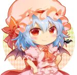 1girl ascot bangs bat bat_wings blue_hair blush chibi circle commentary_request dress eyebrows_visible_through_hair frilled_shirt_collar frills hair_between_eyes hands_on_hips hat hat_ribbon light_particles looking_at_viewer mob_cap pink_dress pink_headwear puffy_short_sleeves puffy_sleeves red_eyes red_neckwear red_ribbon red_sash remilia_scarlet ribbon sash shangguan_feiying short_hair short_sleeves simple_background smile solo touhou upper_body white_background wings