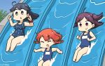 3girls ahoge black_hair blue_swimsuit bob_cut braid brown_eyes casual_one-piece_swimsuit closed_eyes commentary_request dated etorofu_(kantai_collection) eyebrows_visible_through_hair hagikaze_(kantai_collection) hamu_koutarou highres kantai_collection long_hair multiple_girls name_tag one-piece_swimsuit one_side_up open_mouth polka_dot polka_dot_swimsuit purple_hair red_scrunchie redhead school_swimsuit scrunchie side_braid sliding smile swimsuit thick_eyebrows twin_braids ushio_(kantai_collection) water_slide wrist_scrunchie