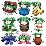 1girl =_= blush_stickers bucket capcom closed_eyes copyright_request dark_souls green_hair ground_vehicle hair_bobbles hair_ornament hal_laboratory_inc. hasbro hoshi_no_kirby in_bucket in_container kashuu_(b-q) kirby kirby_(series) kisume koopa_clown_car mario_(series) military military_vehicle mimic_(dark_souls) motor_vehicle musical_note nintendo nintendo_ead pop-up_pirate pot ride_armor rockman rockman_x souls_(from_software) tank team_shanghai_alice touhou