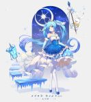 1girl absurdres bangs bare_shoulders blue_dress blue_eyes blue_footwear blue_hair commentary detached_sleeves dress eyebrows_visible_through_hair hair_ornament hatsune_miku highres holding ice long_hair long_sleeves looking_at_viewer musical_note number pantyhose puffy_sleeves rabbit smile stairs tiara twintails very_long_hair vocaloid w-t white_legwear yuki_miku_(2019)