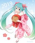 1girl 2019 :d animal aqua_eyes aqua_hair blue_background bow eyebrows_visible_through_hair flower full_body gradient gradient_background gradient_hair green_hair hair_between_eyes hair_bow hair_flower hair_ornament hatsune_miku holding holding_animal japanese_clothes kimono long_hair looking_at_viewer multicolored_hair open_mouth pig pink_kimono sandals smile snowmi solo twintails twitter_username very_long_hair vocaloid