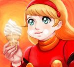 1girl blonde_hair blue_eyes commentary_request cyborg cyborg_009 eating food francoise_arnoul hairband ice_cream lafolie oldschool scarf short_hair smile soft_serve solo