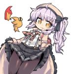1girl ahoge beret black_gloves black_legwear breathing_fire checkered checkered_neckwear dutch_angle fire gloves hat long_hair looking_at_viewer necktie nemui_(nemui) partly_fingerless_gloves pleated_skirt purple_hair rino_(sennen_sensou_aigis) salamander sennen_sensou_aigis side_ponytail simple_background skirt skirt_hold smile solo suspenders white_background yellow_eyes