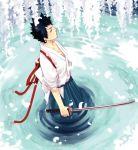 black_hair hakama haori japanese_clothes katana katekyo_hitman_reborn katekyo_hitman_reborn! male solo sword water weapon yamamoto_takeshi