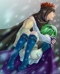 1girl aozora_kyuuji boots couple fire_emblem fire_emblem:_rekka_no_ken fire_emblem_blazing_sword green_hair jaffar nino_(fire_emblem) panties underwear white_panties