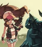 1girl baseball_cap big_hair blue_eyes breasts brown_hair carracosta cleavage clenched_hand dated denim denim_shorts explosive grenade gun hat junkpuyo long_hair mac-10 midriff navel payot poke_ball pokemon pokemon_(creature) pokemon_(game) pokemon_bw ponytail rocket_launcher rpg rpg-7 shorts submachine_gun touko_(pokemon) very_long_hair vest weapon wristband yellow_eyes