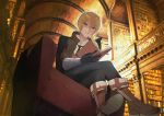 1boy antenna_hair bangs billy_the_kid_(fate/grand_order) black_gloves black_pants blonde_hair blue_eyes book boots brown_footwear brown_jacket chair closed_mouth commentary_request eyebrows_visible_through_hair fate/grand_order fate_(series) from_below gloves highres holding holding_book jacket junktokarev library male_focus necktie open_clothes open_jacket pants shirt short_hair solo white_shirt