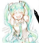 1girl :d ^_^ bangs bare_shoulders black_skirt blush breasts character_name closed_eyes collared_shirt eyebrows_visible_through_hair facing_viewer green_hair green_neckwear hair_between_eyes hair_ornament happy_birthday hatsune_miku headset highres long_hair medium_breasts necktie open_mouth photo pleated_skirt shirt sidelocks signature simple_background sketch skirt sleeveless sleeveless_shirt smile sofra solo tie_clip traditional_media twintails very_long_hair vocaloid white_background white_shirt
