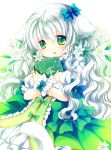 1girl animal_ears bangs blue_bow blush book bow commentary_request copyright_request dress eyebrows_visible_through_hair fang fingernails flower green_bow green_dress green_eyes hair_between_eyes hair_bow hair_flower hair_ornament long_hair looking_away object_hug parted_lips puffy_short_sleeves puffy_sleeves sakurazawa_izumi short_sleeves silver_hair solo tail very_long_hair wavy_hair white_flower wrist_cuffs