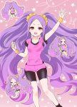 1girl :d ;d ass back bangs bike_shorts black_legwear breasts fang fate/grand_order fate_(series) forehead heart hizuki_mai long_hair looking_at_viewer nitocris_(fate/grand_order) nitocris_(swimsuit_assassin)_(fate) one_eye_closed open_mouth parted_bangs purple_hair shorts smile solo sweatdrop very_long_hair violet_eyes wristband wu_zetian_(fate/grand_order)