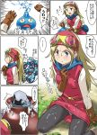 1girl :o belt blonde_hair blue_eyes blush boots breasts brown_footwear brown_gloves closed_mouth commentary_request dragon_quest dragon_quest_builders dress female_builder_(dqb) gloves goggles goggles_on_head imaichi long_hair open_mouth panties panties_under_pantyhose pantyhose red_dress sexually_suggestive slime_(dragon_quest) underwear