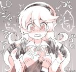 1girl @_@ armor clenched_teeth corrin_(fire_emblem) corrin_(fire_emblem)_(female) eromame fire_emblem fire_emblem_fates grey_background hairband long_hair manakete pointy_ears simple_background solo tearing_up teeth twitter_username upper_body