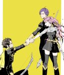 1girl 2boys axe belt bow_(weapon) brown_hair bruise claude_von_riegan dark_skin dark_skinned_male fire_emblem fire_emblem:_three_houses green_eyes grin helping highres hilda_valentine_goneril holding_hands injury lorentz_hermann_gloucester multiple_boys pink_eyes pink_hair polearm purple_hair smile spear thigh-highs twintails violet_eyes weapon yellow_background