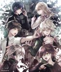 1girl 5boys ahoge akamatsu_kaede bangs black_hair black_jacket blonde_hair brown_eyes brown_hair collarbone commentary_request cyborg danganronpa danganronpa_1 eyebrows_visible_through_hair from_side green_eyes green_jacket green_neckwear grey_hair hair_between_eyes hair_ornament headphones hinata_hajime hood hoodie jacket keebo komaeda_nagito long_hair long_sleeves medium_hair multiple_boys naegi_makoto necktie new_danganronpa_v3 open_clothes saihara_shuuichi school_uniform shirt short_hair striped_jacket super_danganronpa_2 violet_eyes white_hair white_shirt yellow_eyes z-epto_(chat-noir86)