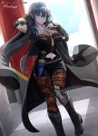 1girl absurdres arm_up artist_name black_cape blue_eyes blue_hair byleth_(fire_emblem) byleth_(fire_emblem)_(female) cape closed_mouth dagger fire_emblem fire_emblem:_three_houses highres medium_hair navel pantyhose sheath sheathed solo vilde_loh_hocen watermark weapon web_address