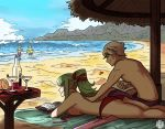 2boys 2girls alcohol back beach_umbrella bikini bikini_top_removed blue_sky book bottle breasts chiki cocktail_glass couple cup dragon_girl drinking_glass elf family female_swimwear fire_emblem fire_emblem:_kakusei fire_emblem_awakening fire_emblem_heroes green_hair highres human husband_and_wife innertube intelligent_systems lotion love male_my_unit_(fire_emblem:_kakusei) male_swimwear morgan_(fire_emblem) morgan_(fire_emblem)_(female) morgan_(fire_emblem)_(male) multiple_boys multiple_girls my_unit_(fire_emblem:_kakusei) nintendo ocean pointy_ears ponytail reading red_bikini reflet robin_(fire_emblem) robin_(fire_emblem)_(male) rubbing sand scruffyturtles seashell shade shell short_hair siblings sideboob silver_hair sky smile summer sunscreen swim_trunks swimsuit swimwear teenage tiki_(fire_emblem) umbrella untied untied_bikini waves