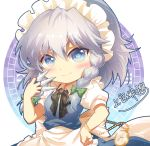 1girl apron bangs black_bow black_neckwear blue_dress blue_eyes blush bow bowtie braid breasts chibi commentary dress eyebrows_visible_through_hair green_bow hair_between_eyes hair_bow hand_on_hip hand_up holding holding_knife holding_weapon izayoi_sakuya knife knives_between_fingers light_particles looking_at_viewer maid maid_apron maid_headdress pocket_watch puffy_short_sleeves puffy_sleeves shangguan_feiying shirt short_hair short_sleeves signature silver_hair simple_background small_breasts smile solo touhou twin_braids upper_body waist_apron watch weapon white_apron white_background white_shirt