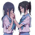 2girls bangs black_hair hand_on_another's_cheek hand_on_another's_face hibike!_euphonium kasaki_nozomi liz_to_aoi_tori long_hair looking_at_another multiple_girls neckerchief ponytail ree_(re-19) school_uniform short_sleeves skirt watch yoroizuka_mizore yuri