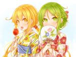 2girls alternate_costume alternate_hairstyle bangs blonde_hair blush braid candy_apple crescent crescent_hair_ornament eyebrows_visible_through_hair fan fingernails floral_print flower food green_eyes green_hair hair_ornament highres holding japanese_clothes kantai_collection kimono long_hair long_sleeves low_twintails multiple_girls nagatsuki_(kantai_collection) open_mouth sash satsuki_(kantai_collection) sidelocks simple_background suzushiro_(gripen39) tongue tongue_out twintails yellow_eyes yukata