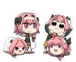1nilla' 4boys :> :3 astolfo_(fate) bkub_(style) black_ribbon braid chibi cloak dual_persona english_commentary fang fate/grand_order fate_(series) full_body fur-trimmed_cloak fur_trim hair_intakes hair_ribbon hands_above_head hands_on_own_head long_braid long_hair looking_at_another male_focus meme multiple_boys otoko_no_ko pink_hair poptepipic ribbon riyo_(lyomsnpmp)_(style) single_braid skin_fang standing stuffed_toy sweatdrop violet_eyes white_background yukkuri_shiteitte_ne
