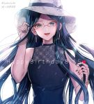 alternate_costume artist_name bangs blue_hair commentary_request danganronpa dated dress glasses happy_birthday hat heart long_hair looking_at_viewer new_danganronpa_v3 open_mouth parted_bangs purple_dress shirogane_tsumugi simple_background sleeveless sleeveless_dress smile solo white_background white_headwear z-epto_(chat-noir86)