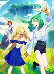 1boy 2girls bare_shoulders blonde_hair blue_sky commentary_request eyebrows_visible_through_hair eyes_visible_through_hair floating_island green_eyes green_hair hand_on_hip head_wings long_hair looking_at_another meadow monster_girl multiple_girls official_art original redhead scales sharp_teeth short_hair sky slit_pupils soratobu_kujira_no_shiawase_seikatsu stuffed_animal stuffed_toy tail teeth very_long_hair wide_sleeves wolf yamakawa yellow_eyes