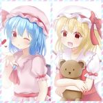 2girls :d :o arm_at_side arm_up bat_wings blonde_hair blown_kiss blue_hair blush brooch cravat eyebrows_visible_through_hair fang flandre_scarlet hair_between_eyes hat hat_ribbon heart holding holding_stuffed_animal jewelry mob_cap multiple_girls one_eye_closed open_hand open_mouth pink_headwear pink_shirt pink_skirt puffy_short_sleeves puffy_sleeves red_eyes red_nails red_neckwear red_skirt red_vest remilia_scarlet ribbon shirt short_hair short_sleeves siblings side_ponytail sisters skirt skirt_set smile split_screen standing striped_border stuffed_animal stuffed_toy teddy_bear touhou upper_body vest white_background white_headwear white_shirt wings yukina_kurosaki