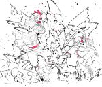 1boy 1girl bird chicken explosion fighting goggles goggles_on_headwear greyscale hair_between_eyes hat highres holding holding_pipe holding_weapon hood idohj12 mask monochrome motion_blur motion_lines muscle original pipe red_goggles short_hair smoke speed_lines spot_color swinging torn_clothes weapon