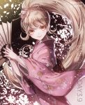 1girl alternate_hairstyle artist_name bangs blonde_hair bow cat_hair_ornament commentary_request danganronpa eyebrows_visible_through_hair fan hair_bow hair_ornament happy_birthday holding holding_fan japanese_clothes kimono long_hair looking_at_viewer pink_clothes pink_kimono ponytail saionji_hiyoko smile solo super_danganronpa_2 twitter_username very_long_hair yellow_eyes z-epto_(chat-noir86)