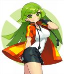 1girl ace_trainer_(pokemon) bangs black_gloves black_skirt blush breasts eyebrows_visible_through_hair fingerless_gloves gloves green_eyes highres holding holding_poke_ball itsumo_nokoru jacket long_hair poke_ball pokemon pokemon_(game) pokemon_masters pokemon_oras shirt short_sleeves skirt smile solo white_shirt