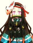 1girl absurdres baggy_clothes bamboo bit_gag black_hair commentary cross en'en_no_shouboutai gag gradient_hair hair_ribbon highres kamado_nezuko kimetsu_no_yaiba long_hair long_sleeves looking_at_viewer mask mask_on_head multicolored_hair orange_hair parody pink_eyes ribbon simple_background solo two-tone_hair uniform upper_body vinne wavy_hair white_background