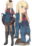 1girl bangs black_footwear black_legwear black_skirt blonde_hair blue_eyes blush boots breasts commentary eyebrows_visible_through_hair fate/grand_order fate_(series) flower full_body gloves hair_ornament hat long_hair long_sleeves looking_at_viewer lord_el-melloi_ii_case_files multiple_views one_eye_closed pantyhose pantyhose_pull pulled_by_self reines_el-melloi_archisorte shiseki_hirame simple_background skirt smile solo teeth white_gloves