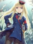 >:) 1girl artist_name bangs blonde_hair blue_coat blurry blurry_background blush brown_legwear closed_mouth commentary_request depth_of_field eyebrows_visible_through_hair fate/grand_order fate_(series) gloves green_eyes hagino_kouta hand_on_hip hat highres holding holding_sword holding_weapon long_hair long_sleeves lord_el-melloi_ii_case_files pantyhose peaked_cap reines_el-melloi_archisorte revision saber_(weapon) signature smile solo sword tilted_headwear v-shaped_eyebrows very_long_hair weapon white_gloves white_headwear