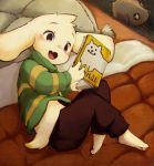 1boy animal_ears annoying_dog asriel_dreemurr book fang feet full_body highres monster_boy open_mouth shirt smile solo tail totatetta undertale