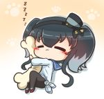 1girl :3 asimo953 bangs black_hair black_legwear blue_sailor_collar blush brown_background chibi closed_eyes closed_mouth commentary_request dress eyebrows_visible_through_hair gradient gradient_background grey_hair hair_between_eyes kantai_collection long_hair multicolored_hair outline pantyhose paw_background pillow pillow_hug red_footwear sailor_collar sailor_dress shoes sidelocks sleeping solo tokitsukaze_(kantai_collection) two-tone_hair two_side_up white_background white_dress white_outline zzz