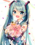 1girl :d anniversary bangs bare_shoulders birthday black_skirt black_sleeves blue_eyes blush bouquet collared_shirt commentary_request confetti crypton_future_media cute detached_sleeves eyebrows_visible_through_hair flower green_hair hair_ornament hatsune_miku highres long_hair long_sleeves looking_at_viewer mamel_27 moe object_hug open_mouth pink_flower pink_rose pleated_skirt rose see-through shirt skirt sleeveless sleeveless_shirt sleeves_past_wrists smile solo twintails upper_body very_long_hair vocaloid white_flower white_rose white_shirt wide_sleeves yamaha_(company)