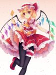 1girl bangs black_legwear blonde_hair closed_mouth eyebrows_visible_through_hair flandre_scarlet frilled_skirt frills gradient gradient_background hat highres leg_up mechrailgun medium_skirt pantyhose pink_background red_eyes red_footwear red_skirt shiny shiny_hair shirt short_hair short_sleeves skirt solo standing standing_on_one_leg thigh_strap touhou white_background white_headwear white_shirt wings wrist_cuffs