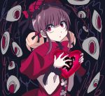 1girl bangs bell bow capelet crack eyebrows_visible_through_hair eyes hair_bell hair_ornament hands_up hat hat_bow heart holding jingle_bell kinohal95 laetitia_(lobotomy_corporation) lobotomy_corporation lolita_fashion long_hair long_sleeves open_mouth pink_capelet pink_headwear purple_hair sanpaku solo upper_body