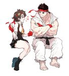 1boy 1girl barefoot black_footwear black_hair blush boots crossed_arms fingerless_gloves gloves headband highres idohj12 looking_at_another necktie red_gloves red_headband ryuu_(street_fighter) short_hair simple_background sitting smile street_fighter street_fighter_v torn_clothes torn_sleeves white_background