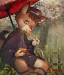 1boy absurdres animal_ears blue_eyes brown_hair cherry_blossoms dango eating food fox_boy fox_ears fox_tail furry hat highres huge_filesize looking_at_viewer male_focus one_eye_closed original outdoors parasol sitting solo tail totatetta tree umbrella uniform wagashi
