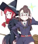 2girls belt black_neckwear blush broom brown_hair collar commentary_request cowboy_shot eyebrows_visible_through_hair eyewear_switch glasses hand_on_hip hat highres hood hood_down kagari_atsuko little_witch_academia long_hair luna_nova_school_uniform multiple_girls red_eyes redhead rimless_eyewear ry770094 school_uniform shiny_chariot sidelocks simple_background smile surprised ursula_charistes white_background wide_sleeves witch witch_hat