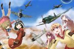 5girls adjusting_scarf aircraft airplane amakasu_miyabi armband backpack bag black_footwear black_gloves black_hair blue_eyes blue_sky boots brown_eyes brown_gloves brown_hair bunny_hair_ornament chika_(kouya_no_kotobuki_hikoutai) closed_mouth clouds cloudy_sky coat commentary_request crossover day emblem falling fingerless_gloves flying frown fur-trimmed_boots fur-trimmed_gloves fur_trim glasses gloves goggles goggles_around_neck goggles_on_head goggles_on_headwear hagoromo_maki hair_ornament highres jacket kirie_(kouya_no_kotobuki_hikoutai) knee_boots kogarashi_kei kouya_no_kotobuki_hikoutai leaning_forward long_sleeves looking_at_another looking_at_viewer military military_vehicle miniskirt motion_blur multiple_girls outdoors parted_lips partial_commentary pink_jacket pink_scarf pleated_skirt purple_hair purple_skirt rabbit red-framed_eyewear red_coat roundel scamp_(scamp_f16) scarf school_uniform serafuku shidenkai_no_maki short_hair short_twintails silver_hair skirt sky smile sweater twintails vehicle_request yellow_sweater