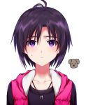 1girl antenna_hair bangs black_shirt cardigan closed_mouth collarbone frown hachiware hair_between_eyes highres idolmaster idolmaster_(classic) jewelry kikuchi_makoto looking_at_viewer necklace open_cardigan open_clothes portrait purple_hair shiny shiny_hair shirt short_hair simple_background solo sweatdrop violet_eyes white_background