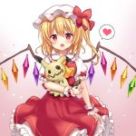 1girl arm_at_side arm_up blonde_hair blush commentary_request cravat crossover crystal eyebrows_visible_through_hair fang flandre_scarlet gen_7_pokemon gradient gradient_background hair_between_eyes hat hat_ribbon heart holding holding_pokemon looking_at_viewer mayo_(miyusa) mimikyu mob_cap open_mouth petticoat pokemon pokemon_(creature) puffy_short_sleeves puffy_sleeves purple_background red_eyes red_skirt red_vest ribbon shirt short_hair short_sleeves side_ponytail skirt sparkle speech_bubble spoken_heart standing touhou vest white_headwear white_shirt wings wrist_cuffs yellow_neckwear