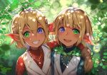 1boy 1girl :d ahoge arm_around_shoulder aura_bella_fiora bangs blonde_hair blue_shirt blunt_bangs blurry blurry_background brother_and_sister brown_gloves dark_elf day depth_of_field elf eyebrows_visible_through_hair gloves green_eyes grin hair_between_eyes heterochromia jacket long_sleeves looking_at_viewer mare_bello_fiore open_mouth outdoors overlord_(maruyama) pointy_ears red_shirt shirt short_hair siblings smile sunako_(veera) twins vest violet_eyes white_vest